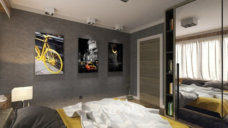 pared cuarto moderno color geris