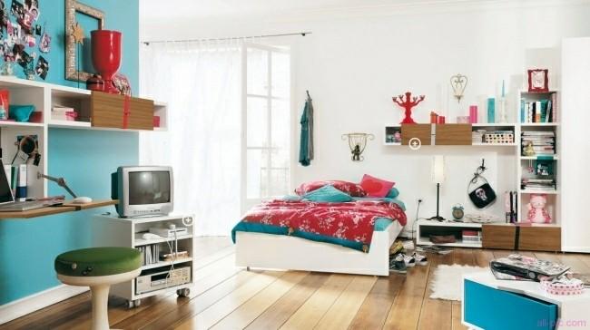 habitaciones infantiles pared cuarto color turquesa