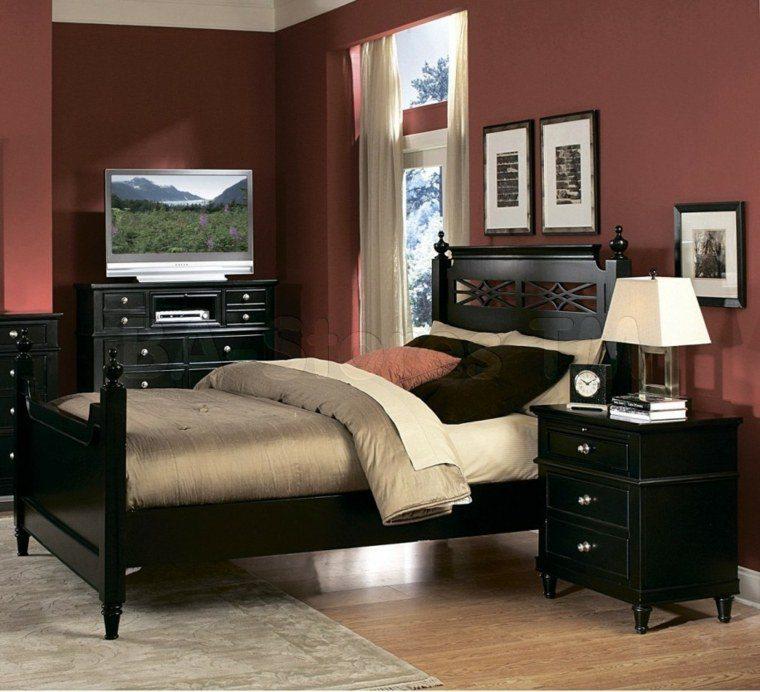Dormitorios de matrimonio de colores oscuros 50 ideas for Color paredes para muebles oscuros