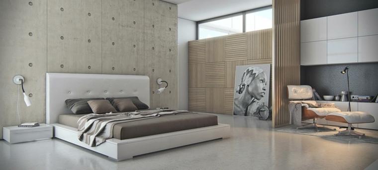 pared dormitorio capitone cemento moderno