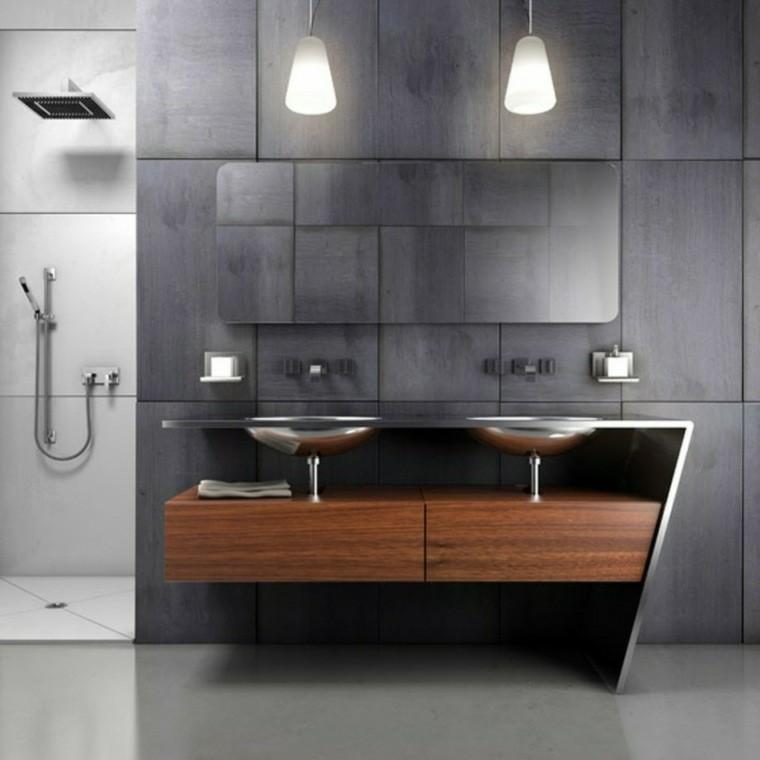 pared gris mueble madera laminada