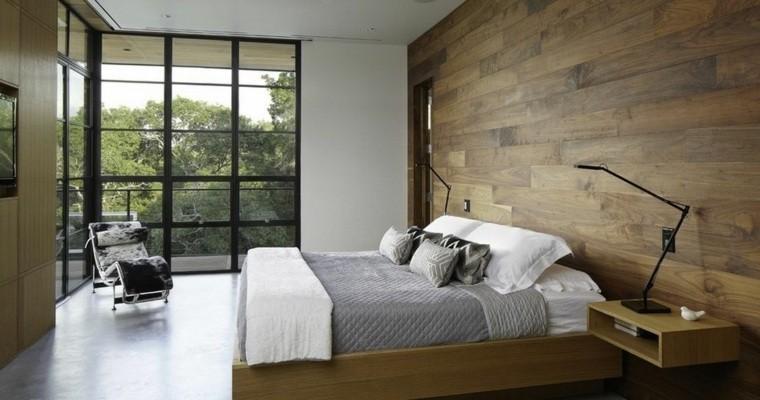 pared habitacion revestida laminas madera
