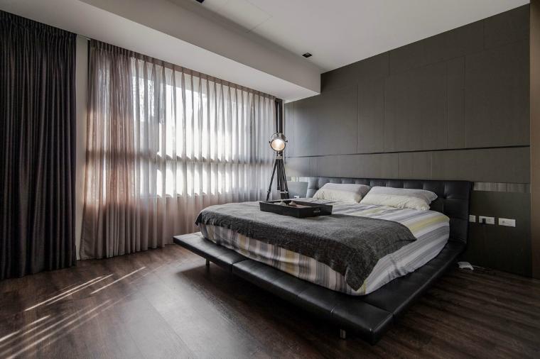 Dormitorios de matrimonio de colores oscuros 50 ideas - Dormitorio pared gris ...