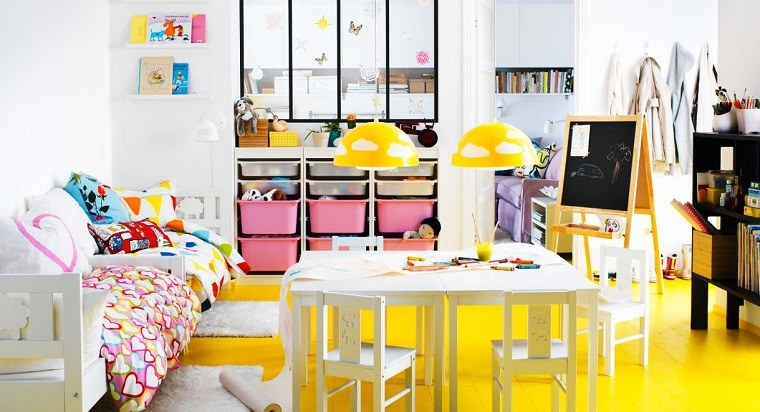 paredes blancas suelo amarillos toques rosa ideas