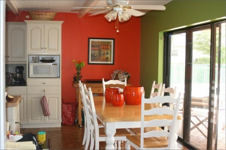 Cocinas pintadas con los colores de moda 50 ideas - Paredes para cocina ...