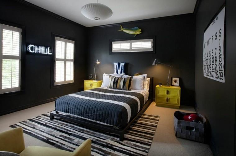 paredes cuarto moderno color negro