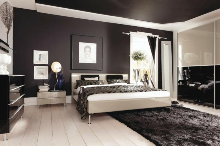 Dormitorios de matrimonio de colores oscuros 50 ideas - Pared marron chocolate ...
