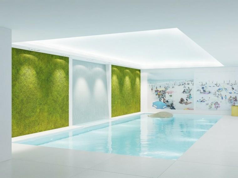 paredes verde cortinas piscinas tapiz