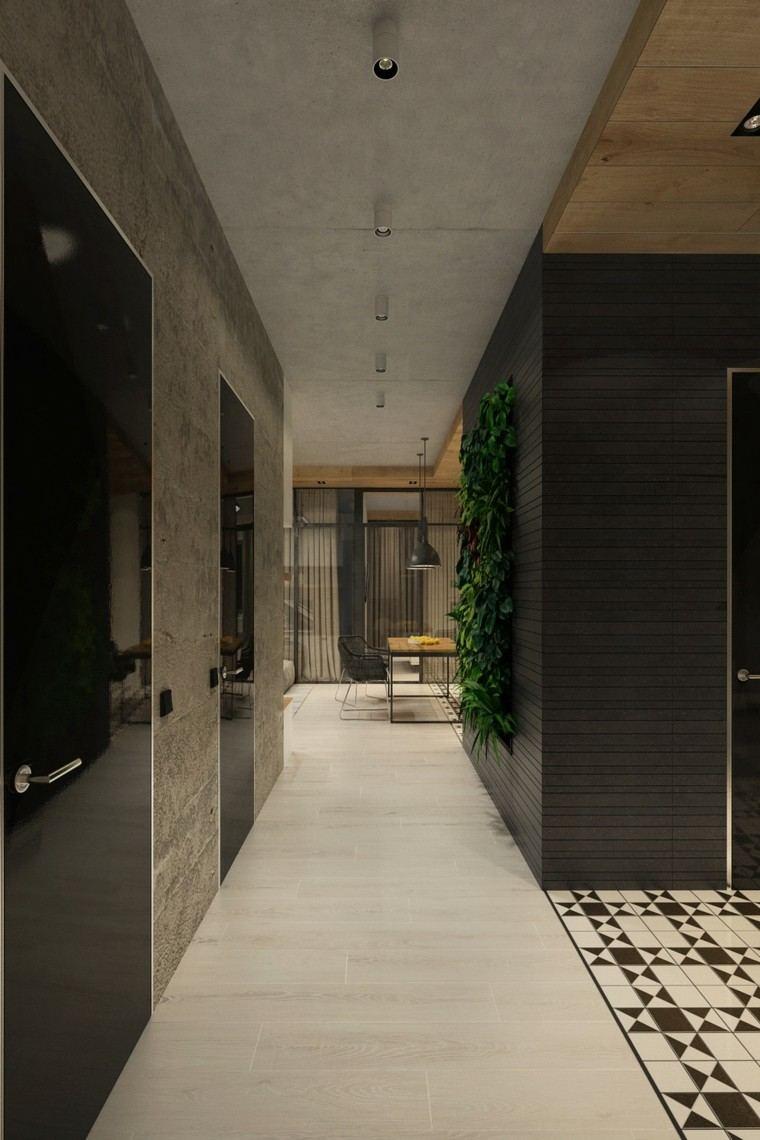 pasillo techo cemento pulido paredes