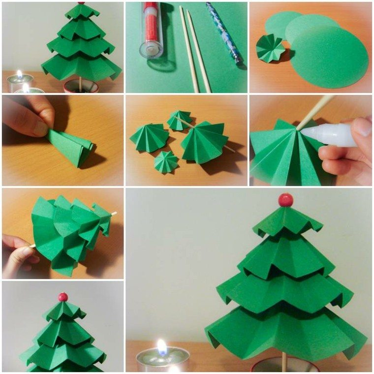 pasos hacer rboles navidad cartulina