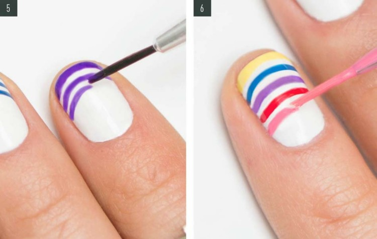 pasos dibujar lineas colores uñas