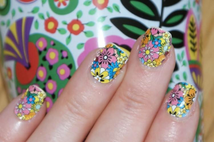 pegatinas uñas flores estampados colores