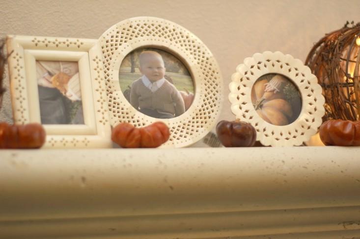 pequeñas calabazas decorativas marcos fotos