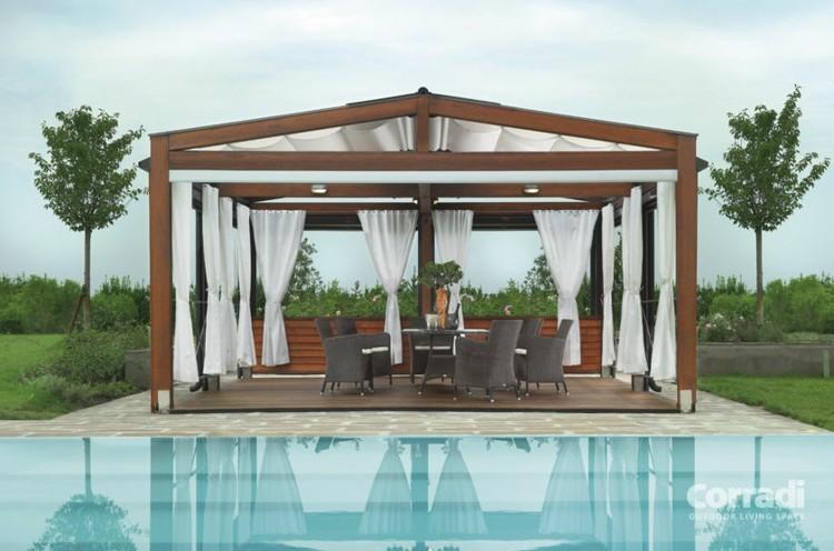 pergola diseño moderno piscina