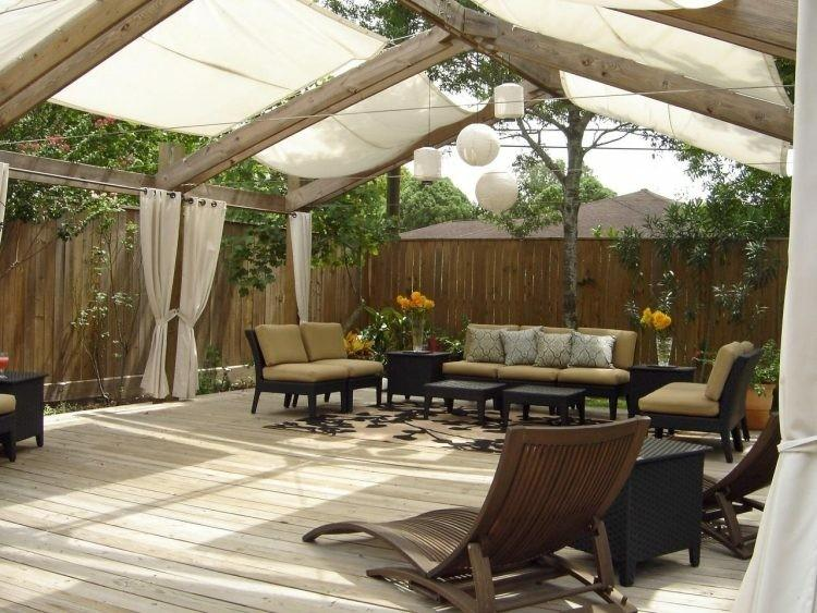 large pergola beige awnings