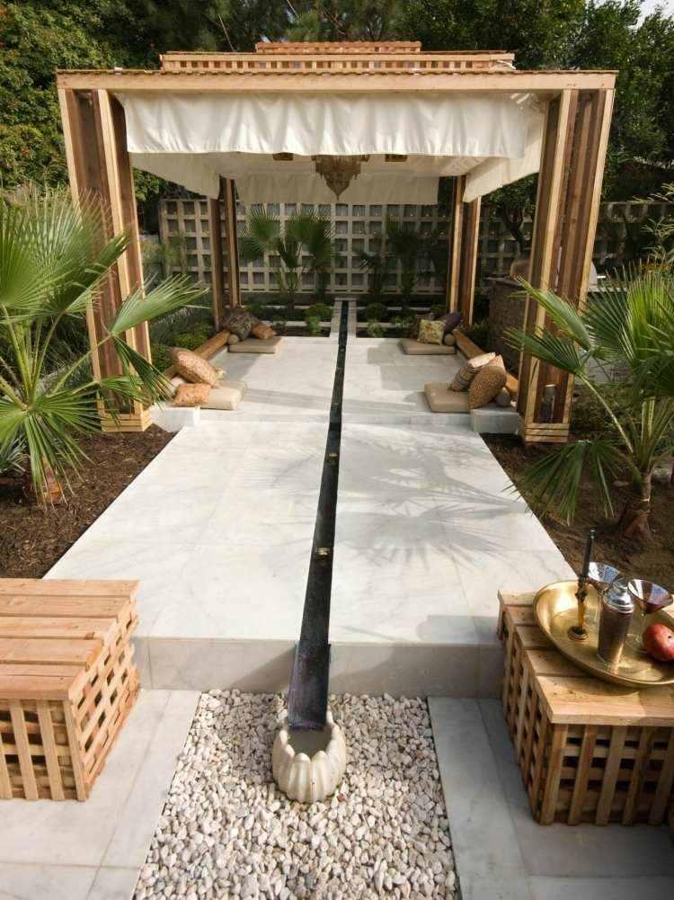 zen style garden wood pergola