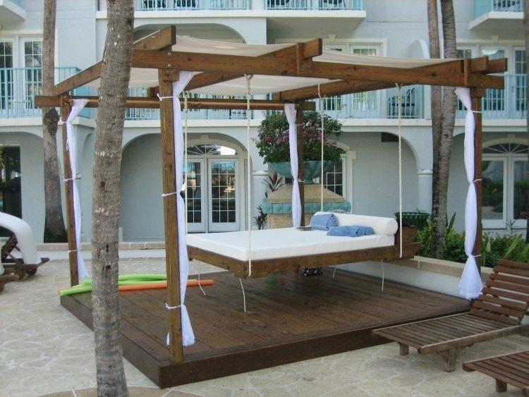 wooden pergola design hanging bed