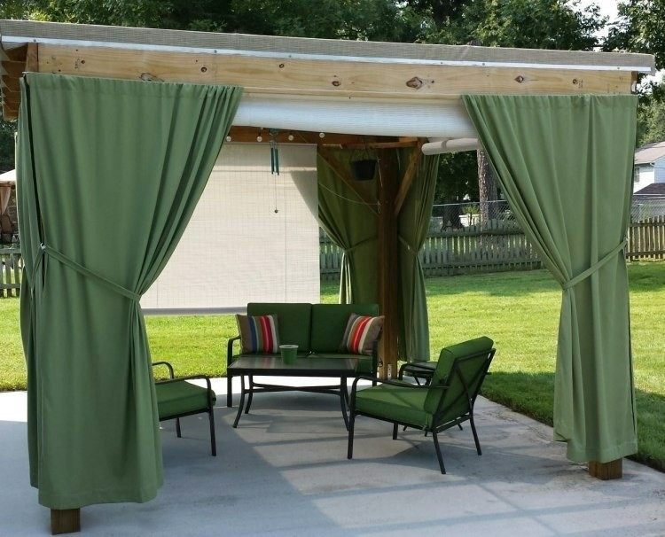 pergola wood green curtains chairs
