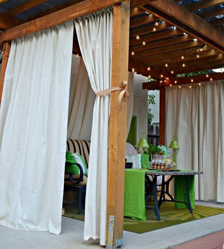pergolas wood curtains bulbs