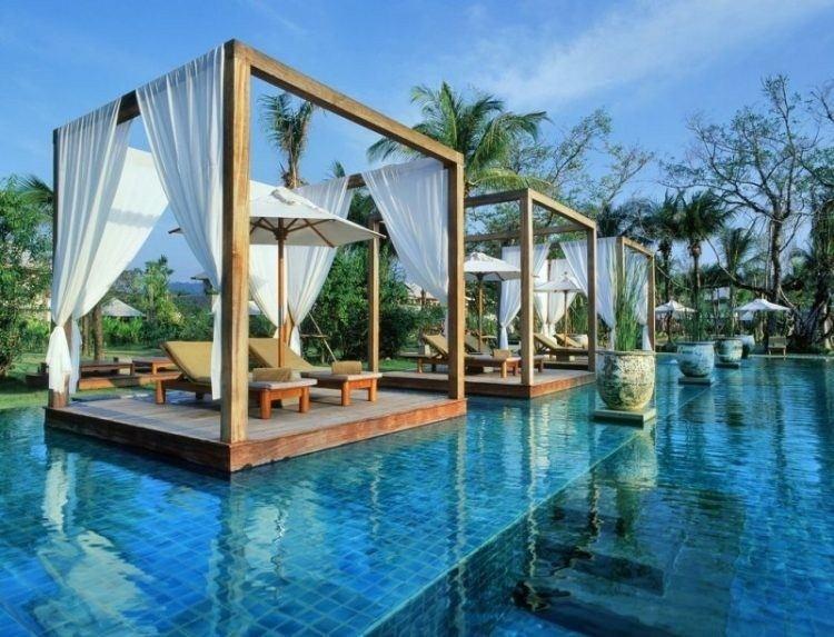 modern wooden pergolas inside swimming pool