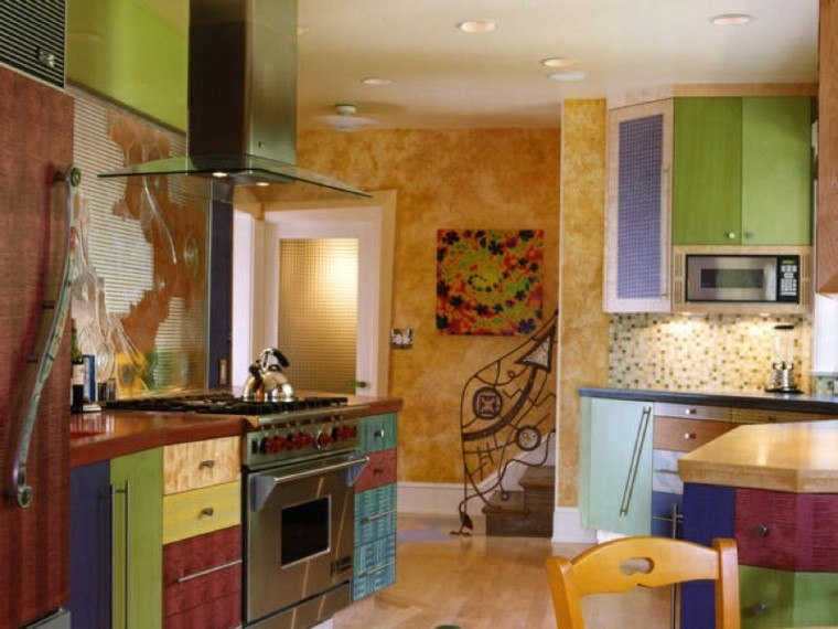 Cocinas pintadas con los colores de moda   50 ideas