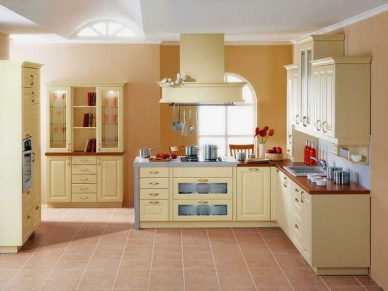 Cocinas pintadas con los colores de moda 50 ideas - Cocina de color ...