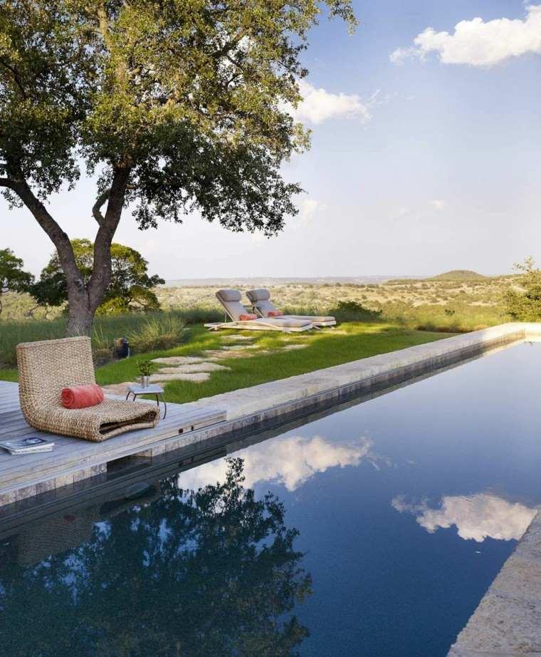 piscina larga estrecha jardin cesped precioso ideas