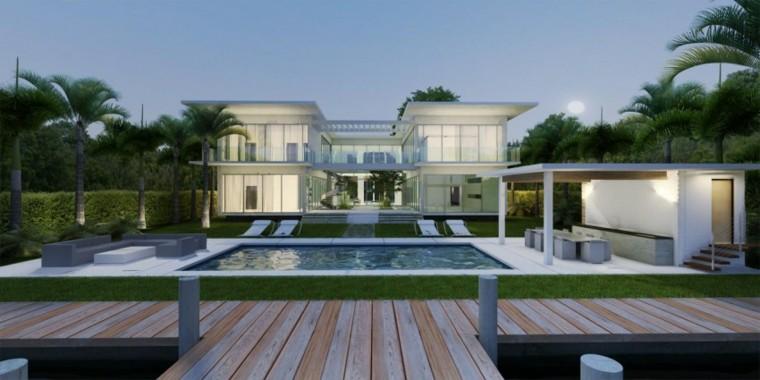 pisicna casa moderna jardin camino madera cesped ideas