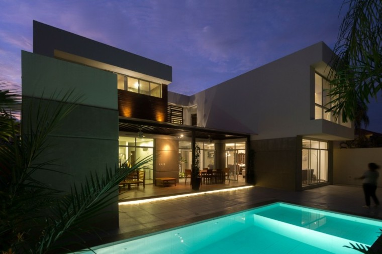 pisicna casa moderna jardin iluminacion fondo ideas