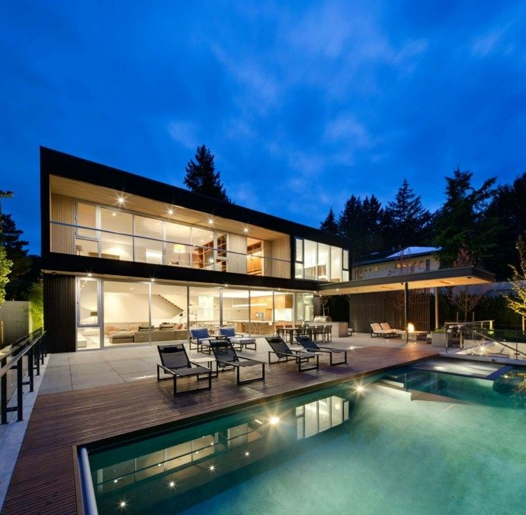 pisicna casa moderna jardin iluminada noche ideas