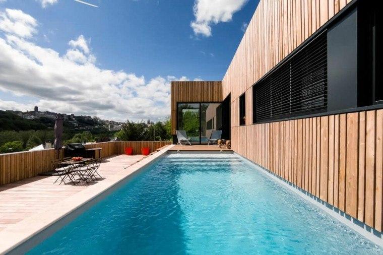 pisicna casa moderna jardin mesa sillas acero ideas