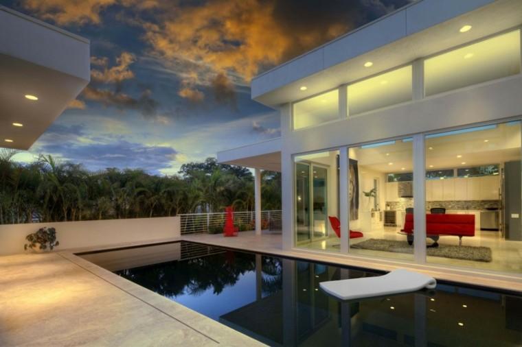 pisicna casa moderna jardin muebles rojos ideas