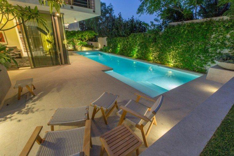 pisicna casa moderna jardin muro verde muebles madera ideas