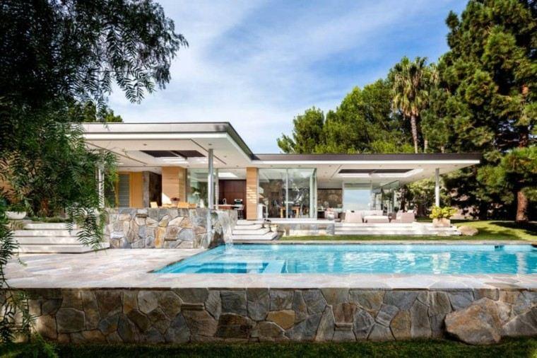 pisicna casa moderna jardin suelo losas piedra ideas