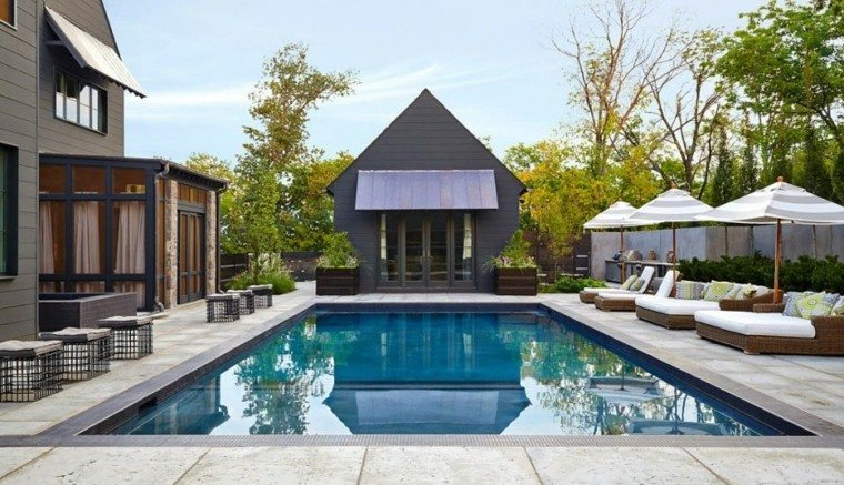 pisicna casa moderna jardin taburetes macetas madera ideas