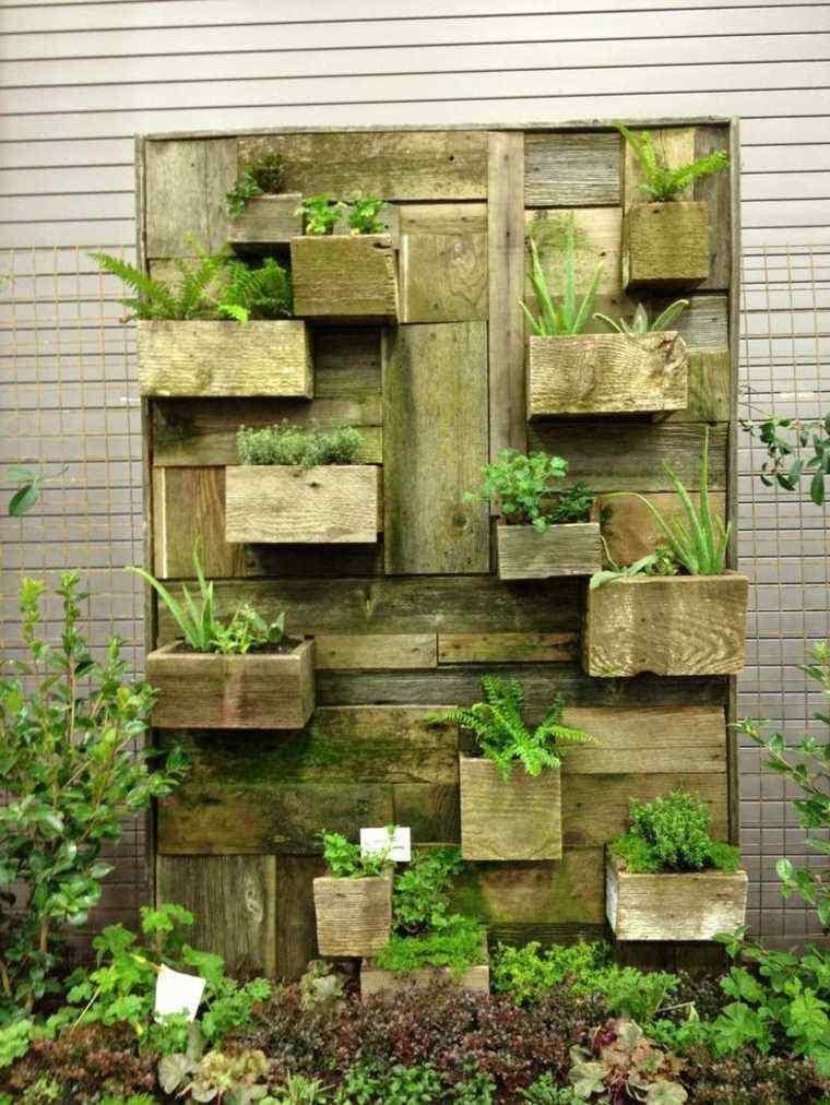 placa madera jardin macetas vertical