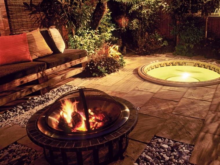 plato fuego negro sofas teca jacuzzi jardin moderno ideas