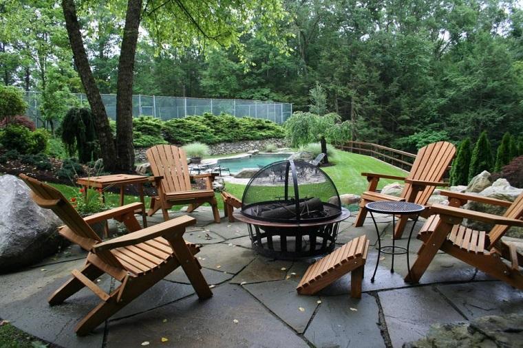 plato fuego sillones madera teca jardin amplio ideas