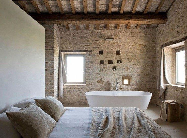 baños rusticos diseño habitacion bañera
