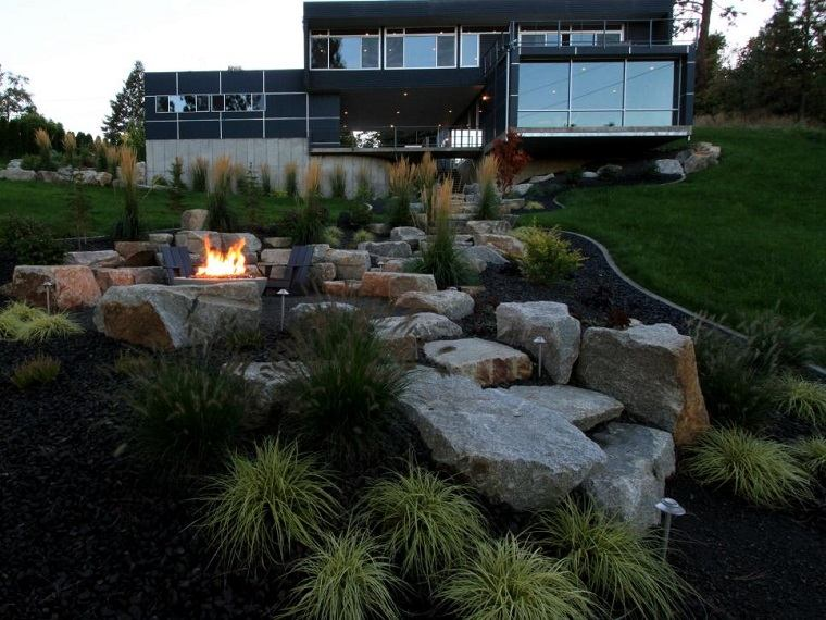 pozo fuego jardin diseno piedras grandes escaleras ideas