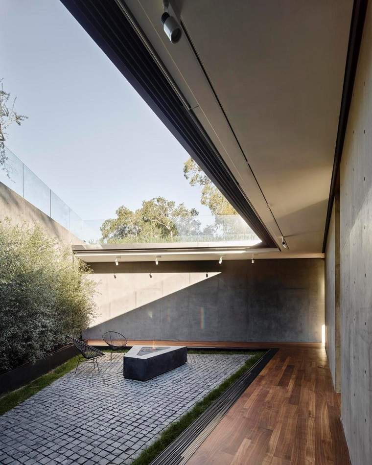 pozo fuego jardin estilo minimalista moderno precioso ideas