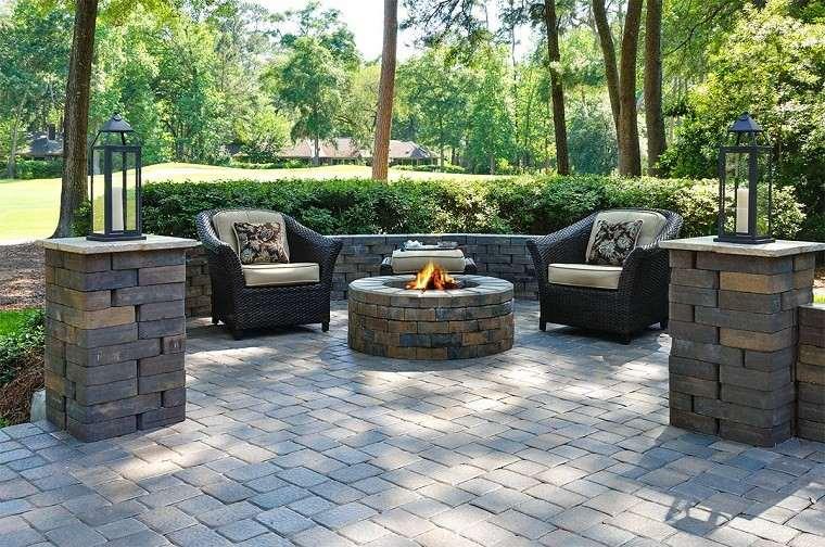 pozo fuego redondo diseño decoracion jardin piedra ideas