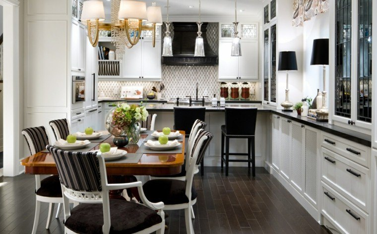 proyecto cocina clasica preciosa abierta comedor mesa madera ideas