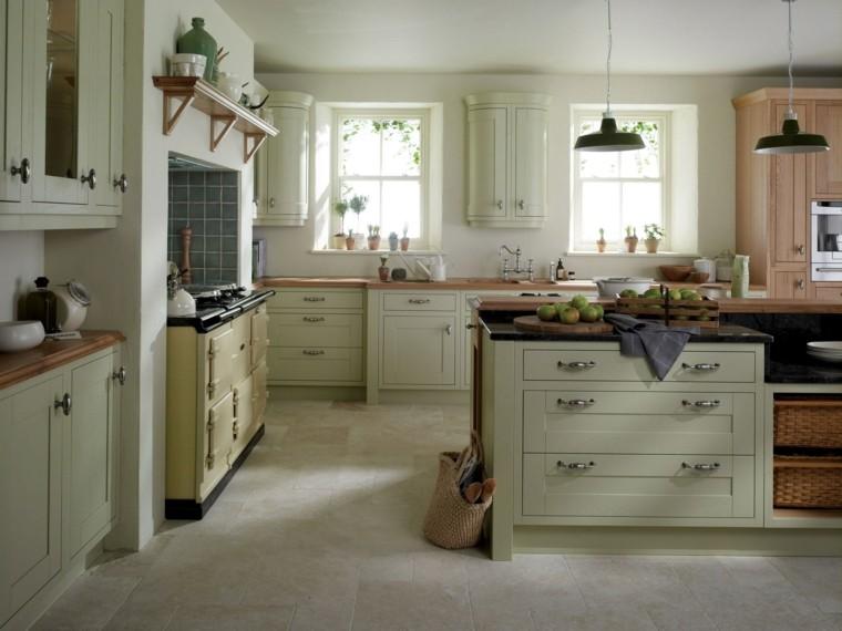 proyecto cocina clasica preciosa amplia color verde claro ideas
