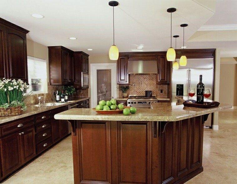 proyecto cocina clasica preciosa barra madera color cereza ideas