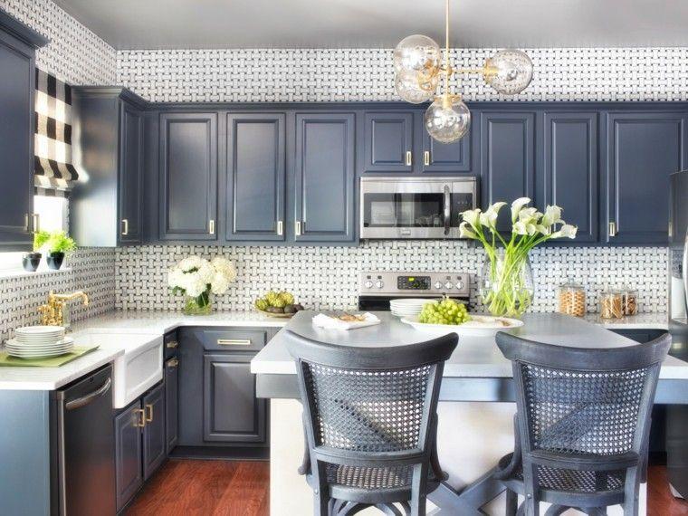 proyecto cocina clasica preciosa muebles azul ideas