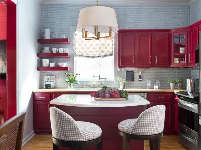 proyecto cocina clasica preciosa muebles rojos isla pequena ideas