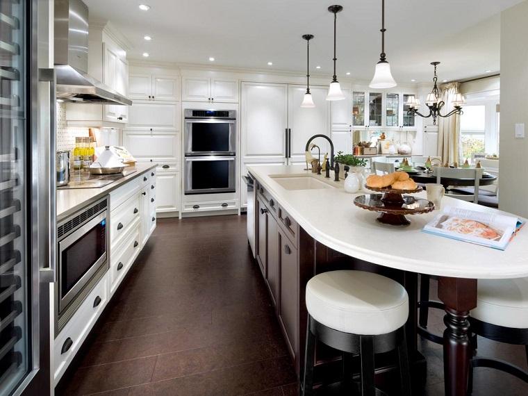 proyecto cocina clasica preciosa taburete alto muebles blancos ideas