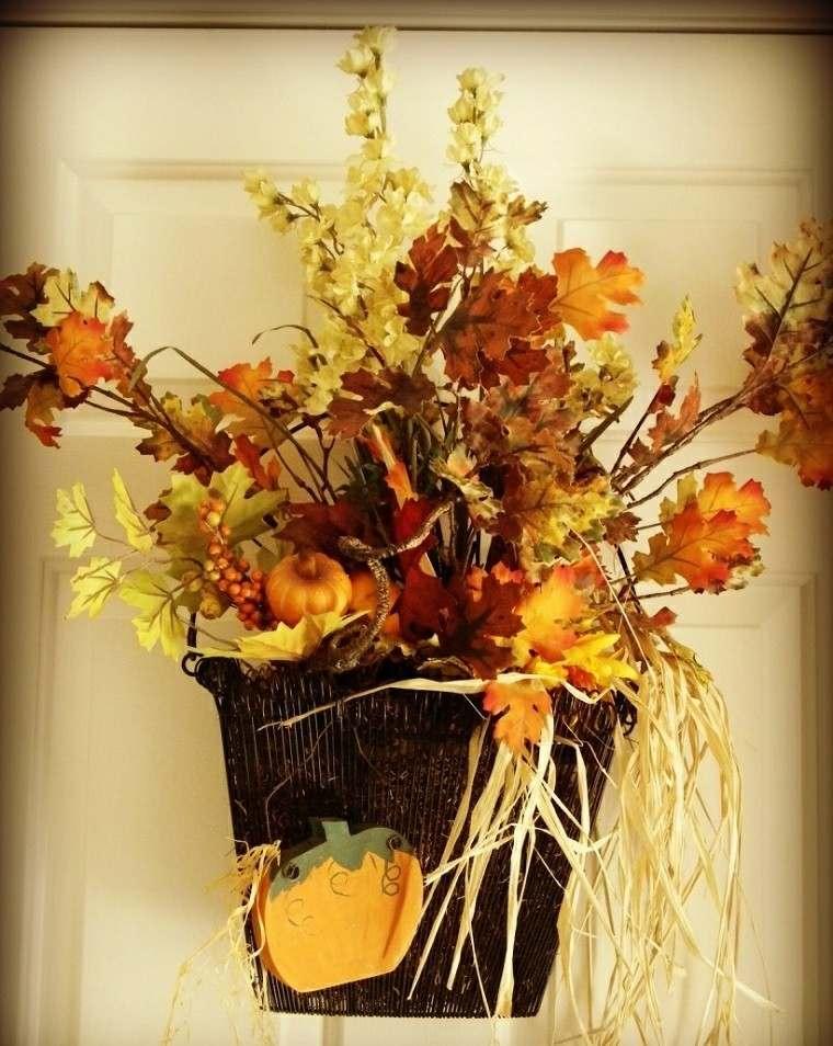 puerta casa ramas hojas secas arbol decorativas ideas