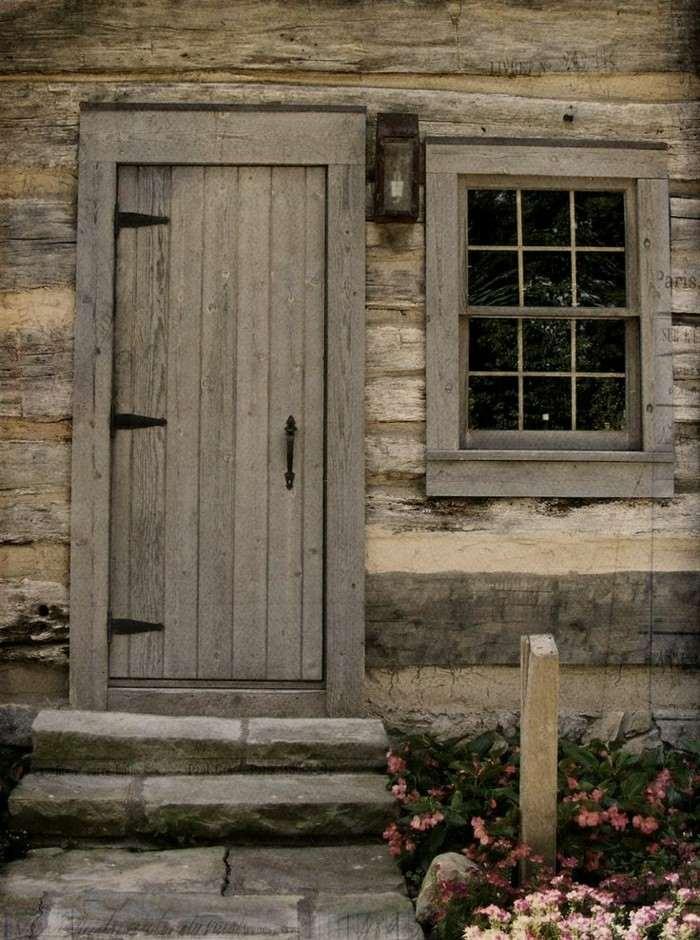 puerta madera diseño ventana